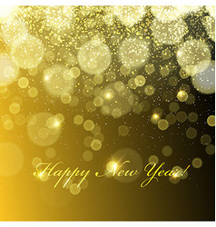 Happy new year golden lights background snowflakes vector