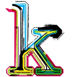 Grunge colorful font letter k vector