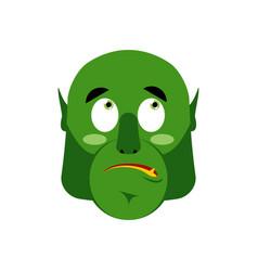 Ogre surprised emoji goblin astonished emotion vector