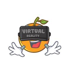 Orange fruit cartoon character with virtual vector