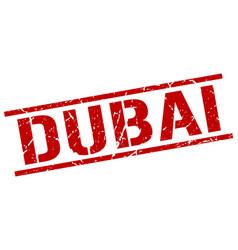 Dubai red square stamp vector