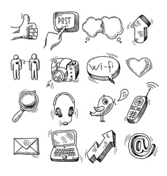 Doodle social icons set vector image