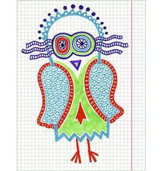 Doodle owl marker hand draw vector