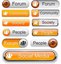 Forum high-detailed modern buttons vector