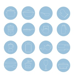 Kitchen tools and utencils icons outlined thin vector