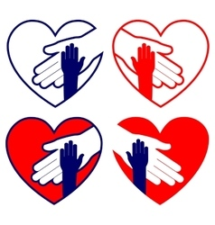 Hand helping in heart collection vector