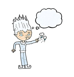 Jack frost cartoon with thought bubble vector