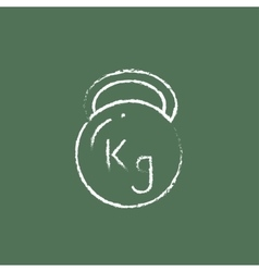Kettlebell icon drawn in chalk vector