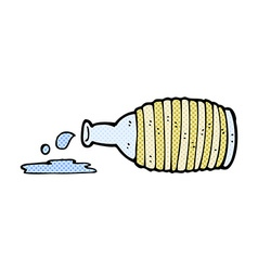Comic cartoon spilled bottle vector