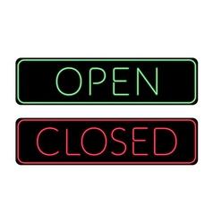 Open and closed door neon sign vector