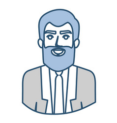 Blue silhouette with half body of man with beard vector