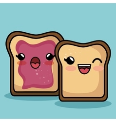 Bread slice character kawaii style vector
