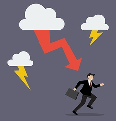 Businessman run away from thunderstorm vector