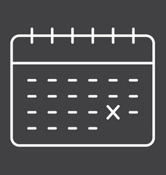 calendar line icon time and date reminder vector image