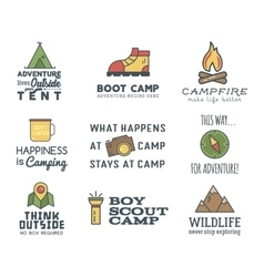 Camping logo design set with typography and travel vector image