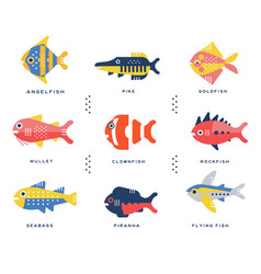 Collection of sea and ocean fish and lettering vector
