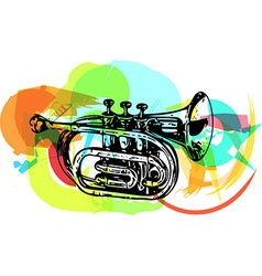 Colorful trumpet vector