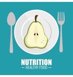 Delicious half pear nutrition healthy food concept vector