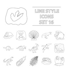 dinosaurs and prehistoric set icons in outline vector image vector image