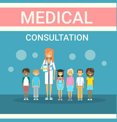 doctor examining patients group medical vector image vector image