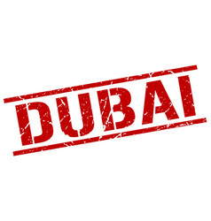 Dubai red square stamp vector