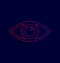 eye sign line icon with vector image vector image