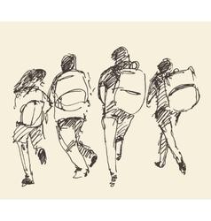 Four pupils go hand sketch vector