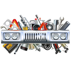 front car part with spares vector image vector image