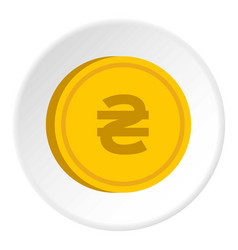 Gold coin with hryvnia sign icon circle vector