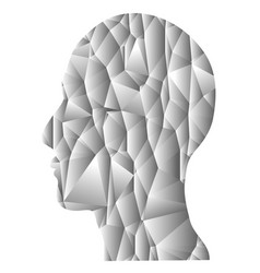 gray gradient geometric head vector image
