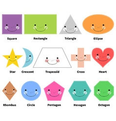 Learn 2d shapes cartoon smiling shapes for kids vector