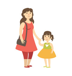 mother and small daughter holding hands vector image vector image