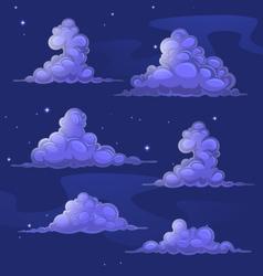 Nightly cartoon clouds vector image vector image