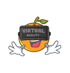 Orange fruit cartoon character with virtual vector