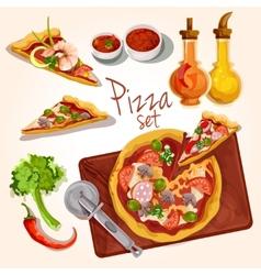Pizza ingredients set vector