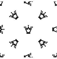 princess crown pattern seamless black vector image vector image