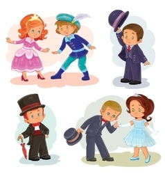 Set clip art with young children in vector