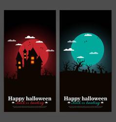 set of halloween night backgrounds vector image