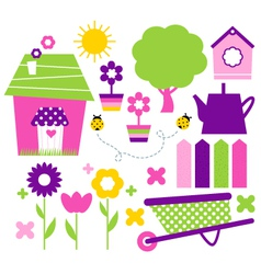 Spring village and garden set isolated on white vector image