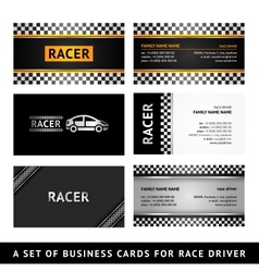 Business card driver race - first set vector image