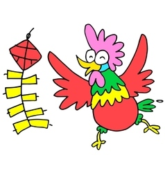 Happy rooster with firecracker character Chinese vector image