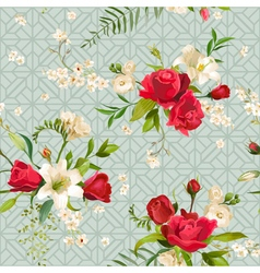 Vintage rose and lily flowers background spring vector