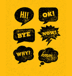 Funny bright rough speech bubbles set on vector