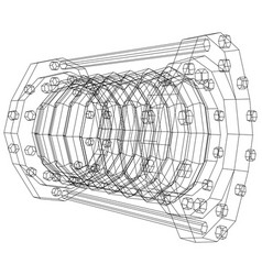 wire-frame industrial equipment oil flowmeter ep vector image