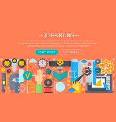 3d printer technology flat concept set 3d vector