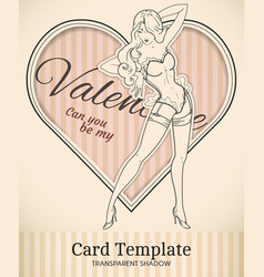 valentine pin-up woman card template vector image