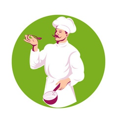 Chef cook baker holding sauce pan and spoon vector