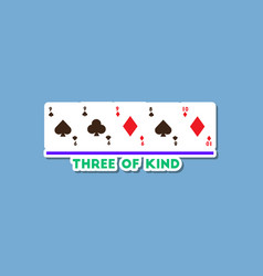Paper sticker on stylish background poker three of vector