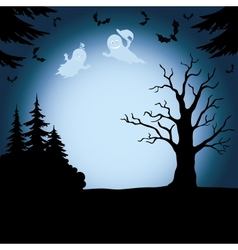 Halloween landscape with ghosts vector