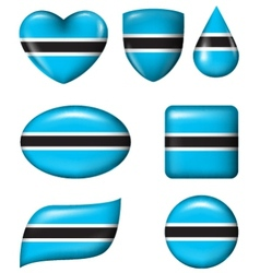 Botswana flag in various shape glossy button vector